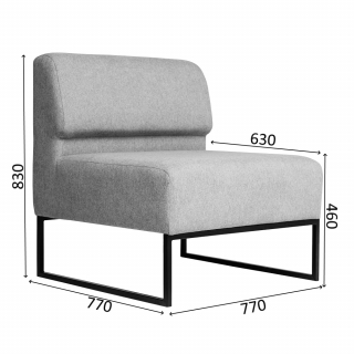 Характеристики: Диван офісний: Lounge 1M
