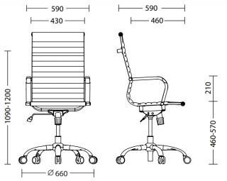 Характеристики: Крісло для керівника: SLIM HB NET