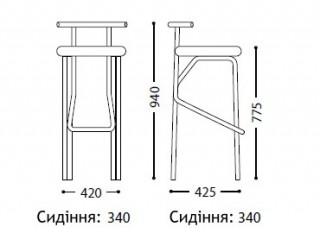 Характеристики: стілець барний високий: Jola