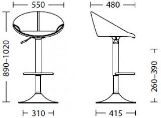 Характеристики: стілець барний високий: Rose