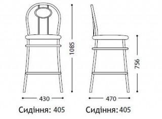 Характеристики: стілець барний високий: Tiziano hoker