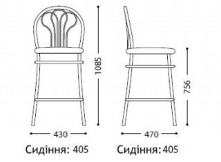 Характеристики: стілець барний високий: Venus hoker chrome