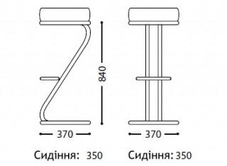 Характеристики: стілець барний високий: Zeta